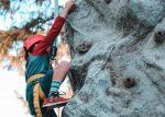 a child rock climbing