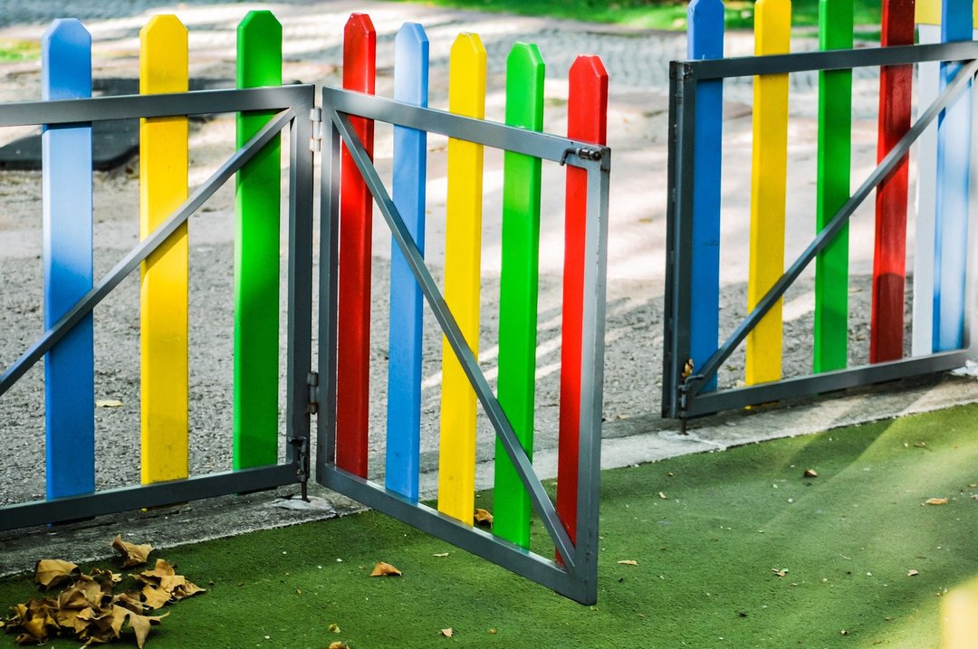a colourful school fence