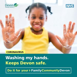 a poster promoting washing hands to keep Devon safe