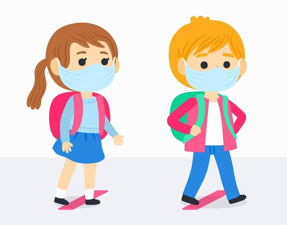 An illustration of two children wearing face masks