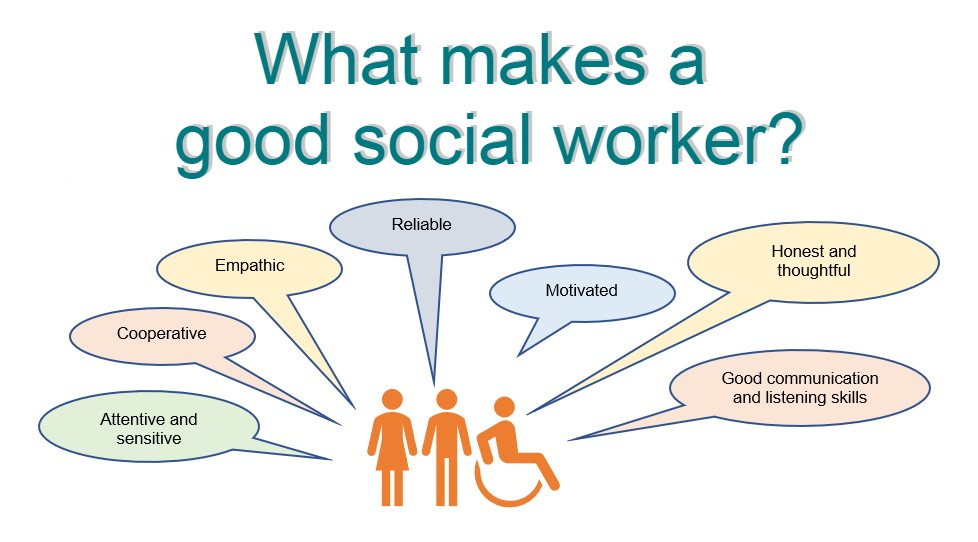 a graphic illustrating what makes a good social worker