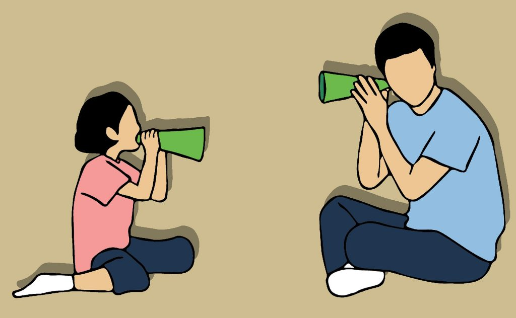 an illustration of a child talking through a megaphone and an adult listening