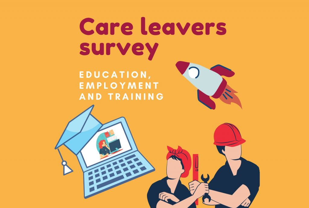 a poster promoting a survey about education, employment and training