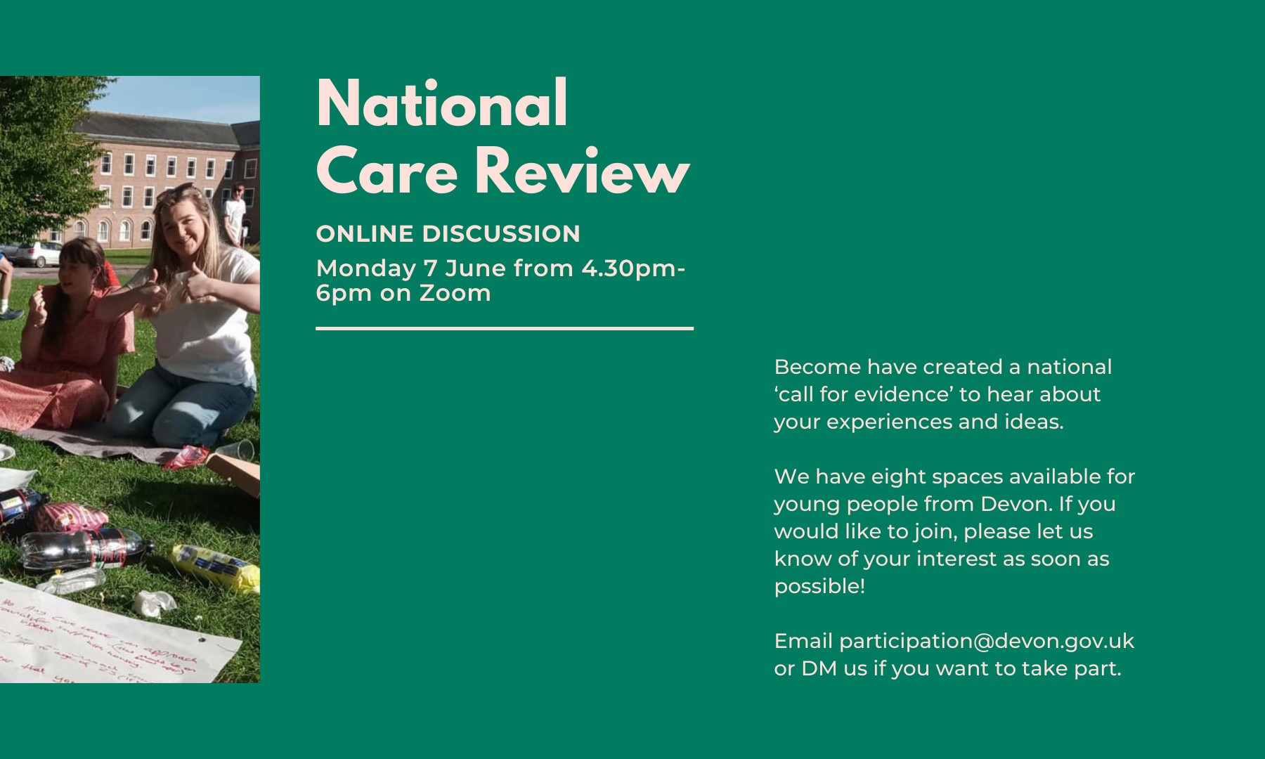 a poster for the National Care Review focus group hosted by Become